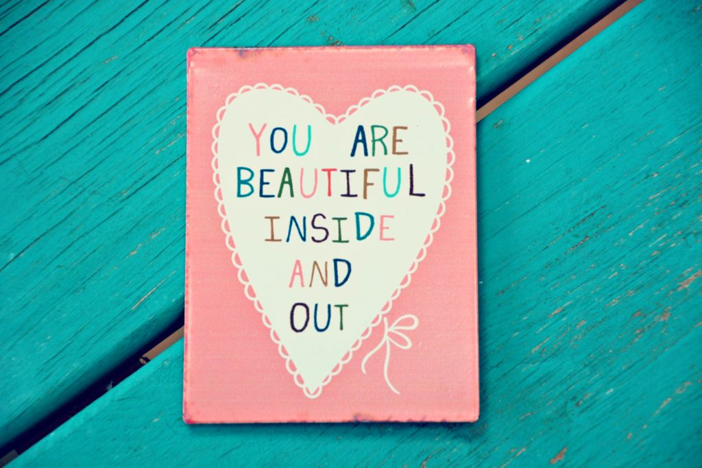 You are beautiful inside and out magnet on sturdy metal.  Dimensions 10.5cm x 8cm